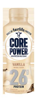 A bottle of Core Power Vanilla high-protein milk shake.